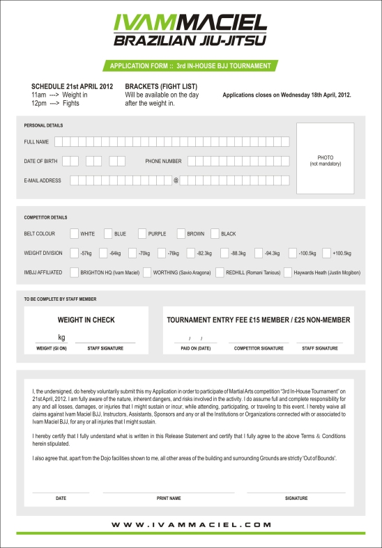 BJJ APPLICATION FORM